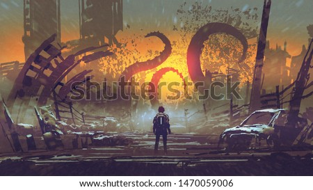 man looking at a tentacle monster that destroys the city, digital art style, illustration painting