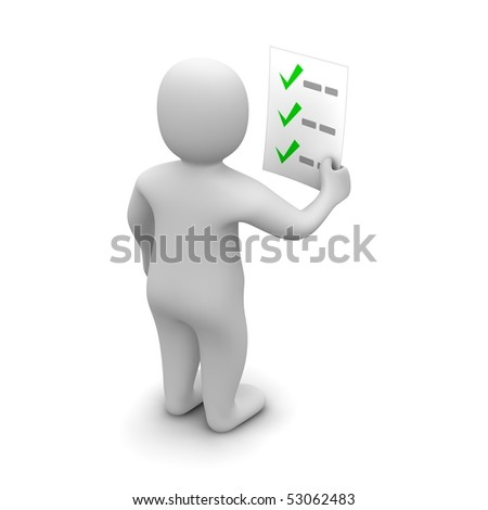 Man looking at checklist. 3d rendered illustration.