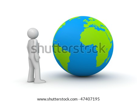 stock photo : Man looking at planet Earth / globe (3d isolated characters on