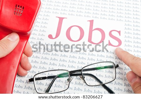 man looking for a job by telephone