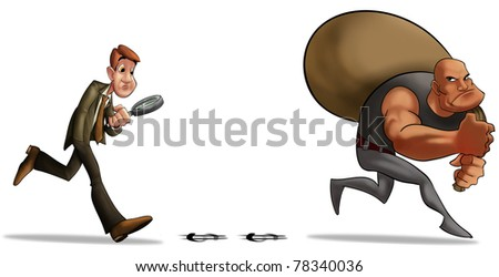 man looking for a thief with a big bag of money - stock photo