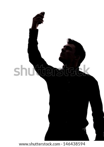 Man looking for network in silhouette isolated over white background