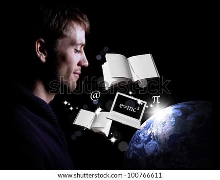 Man looking peacefully over Earth through knowledge, science, education and technology - stock photo