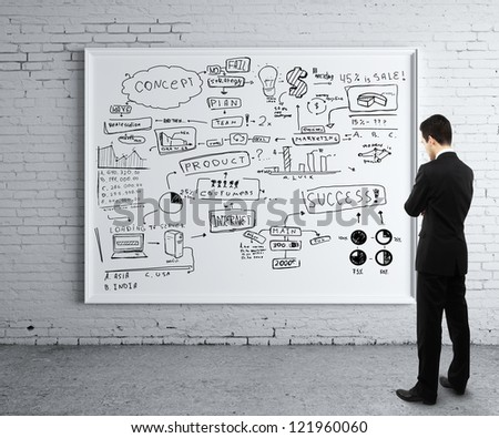 man looking poster with business strategy - stock photo