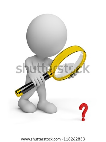 Man looking through a magnifying glass on the object. 3d image. Isolated white background. - stock photo