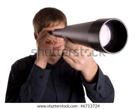 man looking through a telescope isolated on a white background