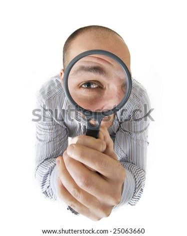 Man looking through the lens