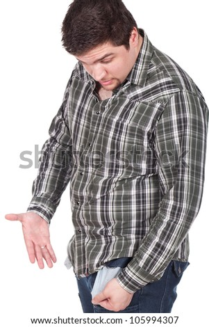 man looking to his empty pocket