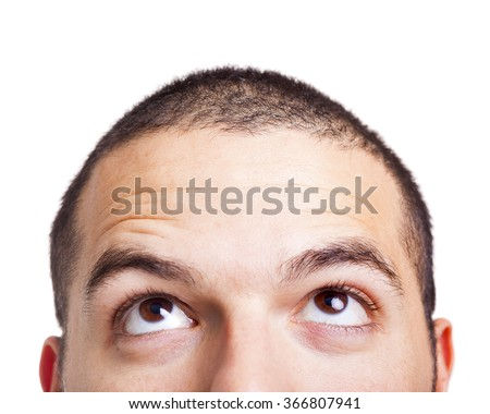 Shutterstock Man looking up on a white background