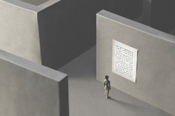 man lost in a complex maze, observing the map to find the way out;  surreal concept