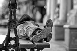 Man lying on the bench