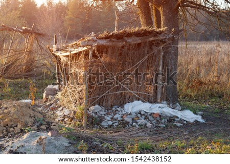 Man made hovel in bushes. Hut of branches near the tree. Down shifting habitation in grass or forest. #1542438152