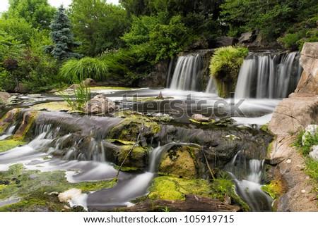 Man made waterfalls of Lake Katherine in Palos Heights, Illinois