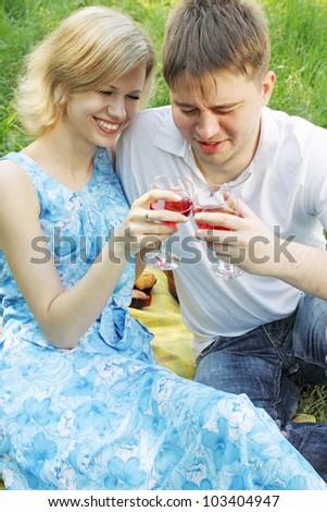 man makes a toast at a picnic