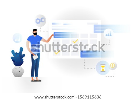 Man makes an online schedule in the tablet. design business graphics tasks scheduling on a week. illustration with character. Businessman planing his work