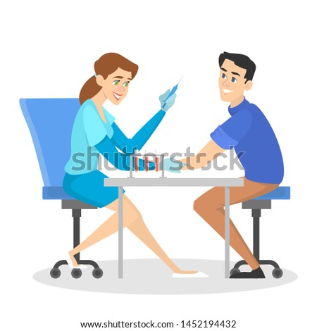 Man making a blood test in hospital. Doctor holding syringe in clinic. Test tube on table. Idea of health treatment. Isolated  illustration in cartoon style