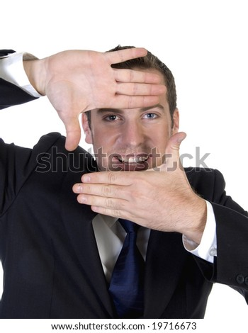 man making frame shape with fingers on an isolated background