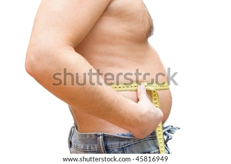 Man measuring his body isolated on white