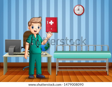 Man medical doctor clinics hospital interior medicine worker
