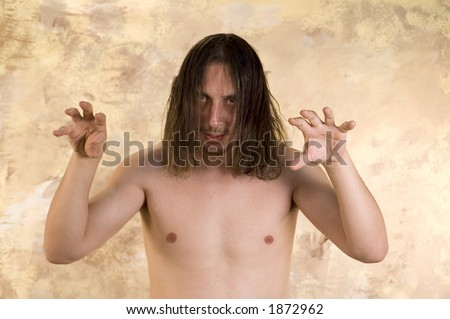 Man moving head with long hair