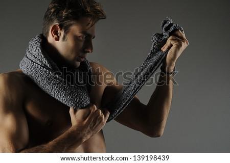 man naked in shirt