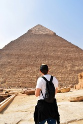 Man observing Great Pyramid of Giza