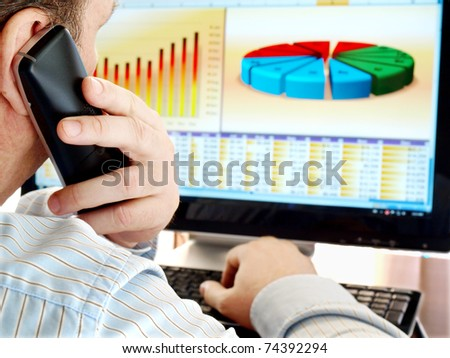 Man on a phone analyzing financial data and charts on computer screen.