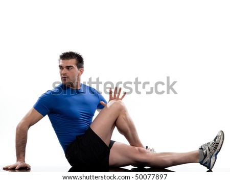man on Abdominals rotation workout posture on white background.