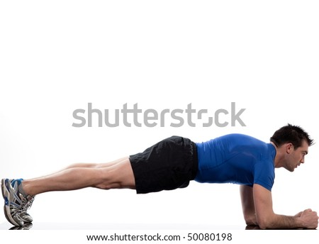 man on Abdominals workout Basic Plank posture on white background