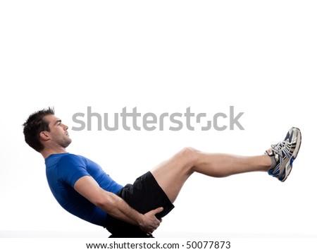 man on Abdominals workout posture on white background.