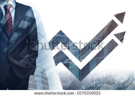 Man on abstract city background with digital arrows. Success, forward, economy and growth concept. Double exposure