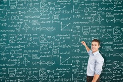 Man on background mathematical solution