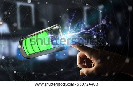 Man on blurred background touching 3D render battery with lightning with his finger