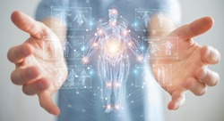 Man on blurred background using digital x-ray human body holographic scan projection 3D rendering