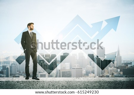 Man on concrete roof top with arrows. City background. Success concept #615249230
