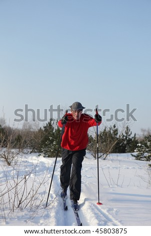 Man on cross-country ski in the forest
