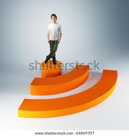 man on 3d rss symbol background