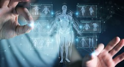 Man on dark background using digital x-ray human body holographic scan projection 3D rendering