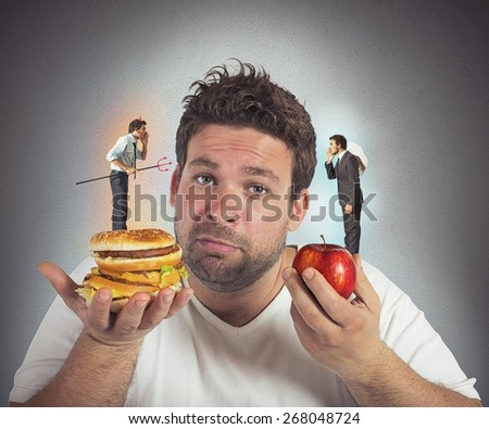 Man on diet with a guilty conscience
