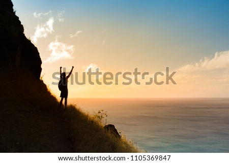 Man on edge of mountain cliff with fist in the air. Freedom, happiness and adventure concept.