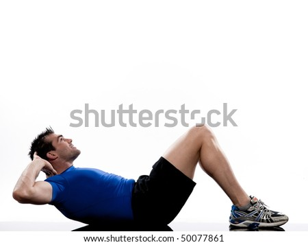 man on floor Abdominals workout posture on white background