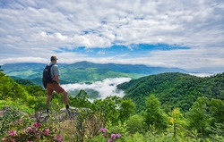 Man on hiking trip, standing on top of the mountain over the clouds, enjoying beautiful summer mountain scenery. Hiker looking at beautiful view. Blue Ridge Mountains, North Carolina, USA.