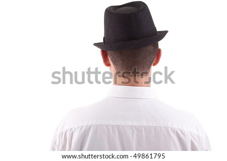 man on his back with a black hat on