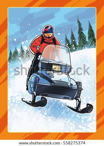 Man on snowmobile, extreme winter sport Stock photo ©