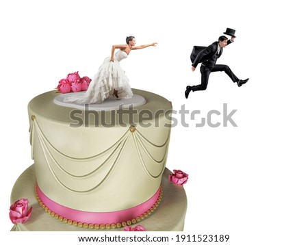 Man on the cake top escapes from marriage Stock photo ©