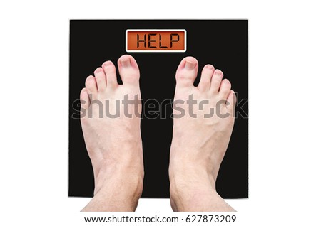 Man on the scales with a lot of weight and health problems, the inscription - help #627873209