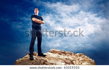 Man on the top of mountain.