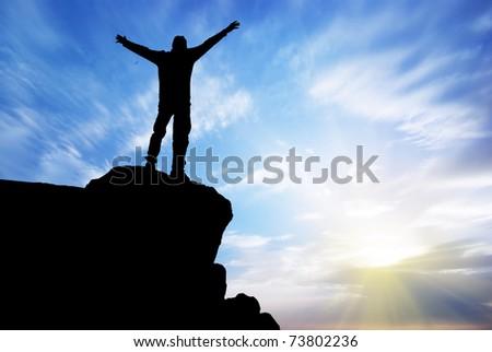 Man on top of mountain. Conceptual design. #73802236