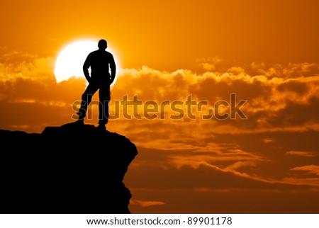 Man on top of mountain. Conceptual design. #89901178