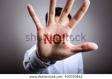 Man open the hand with the text No. #430320862